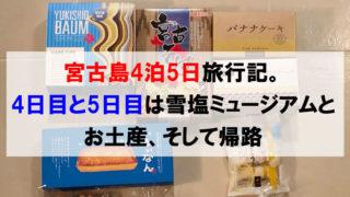 宮古島4泊5日旅行記。4日目と5日目は雪塩ミュージアムとお土産、そして帰路